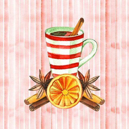 Mug of Hot winter tea with orange, cinnamon, anise, clove and walnut, watercolor, hand drawn - Illustration Фото со стока - 129714759