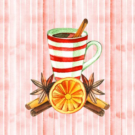Mug of Hot winter tea with orange, cinnamon, anise, clove and walnut, watercolor, hand drawn - Illustration