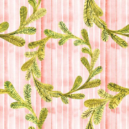 Hot chocolate seamless pattern. Hot drinks Christmas background. Watercolor illustration Фото со стока - 129714712