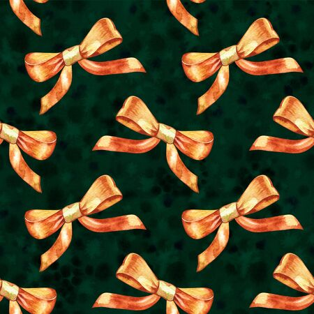 Seamless pattern. Watercolor gold bow. Hand painted illustration for childrens design, kids room, nursery, wallpaper, fabric, baby cloth, home textile