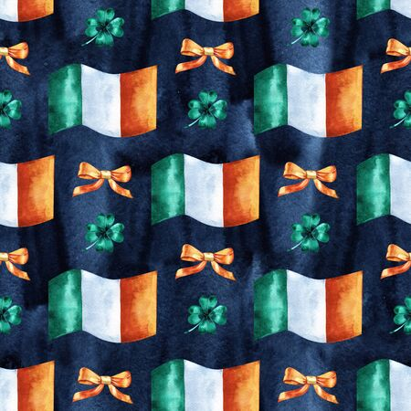 Seamless background with St. Patricks Day symbols. Watercolor hand drawn illustration with irish flag. Holiday pattern.