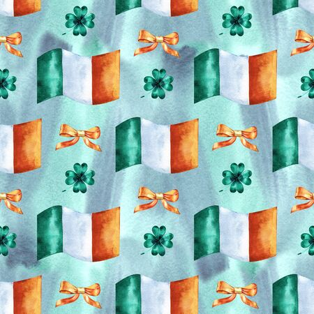 Seamless background with St. Patricks Day symbols. Watercolor hand drawn illustration with irish flag