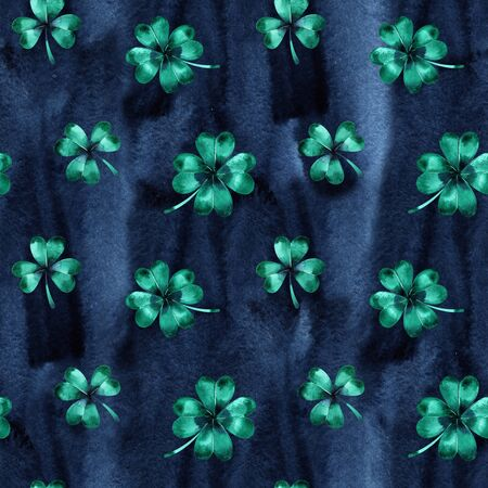 Seamless wallpaper with clover leaves trefoils for Saint Patrick day 스톡 콘텐츠