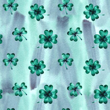 Seamless wallpaper with clover leaves trefoils for Saint Patrick day Reklamní fotografie