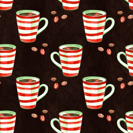 Watercolor christmas cute illustrations collection. Holiday coffee seamless background. Christmas pattern for scrapbook and design