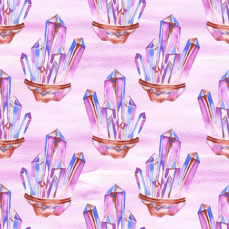 Seamless watercolor hand painted boho pattern. Soft pink crystals and gems on white background. Perfectfor gift paper and fabric print