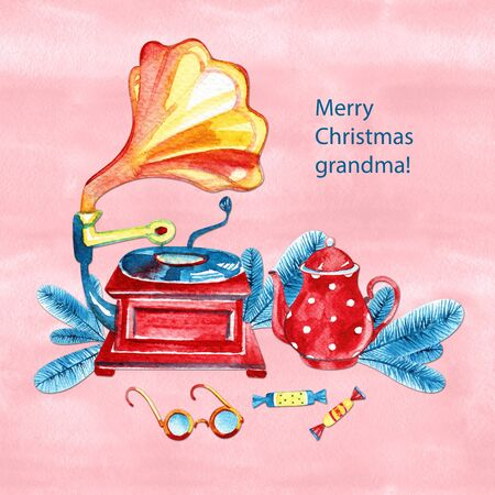 Marry Christmas Grandma Watercolor illustration, greatind card, frame. Winter composition with gramophone.