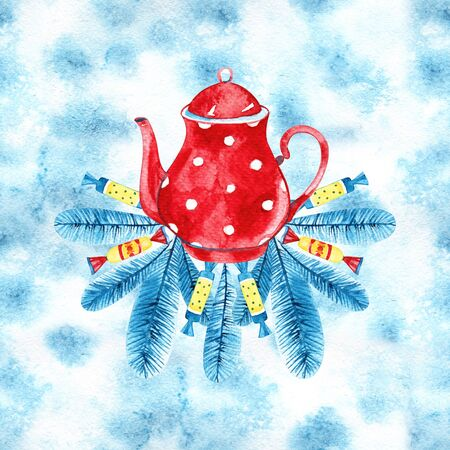 Merry Christmas and Happy New Year set. Watercolor illustration with a choice of hot drinks:apple cider,tea,chocolate,cappuccino.Handpainted watercolor clipart.What hot drink do you prefer this winter