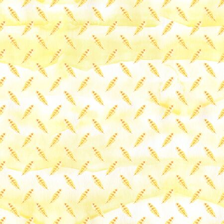 Watercolor hand painted yellow feathers illustration seamless pattern isolated on white background. Seamless texture with hand drawn feathers. Illustration for your design. Bright colors.