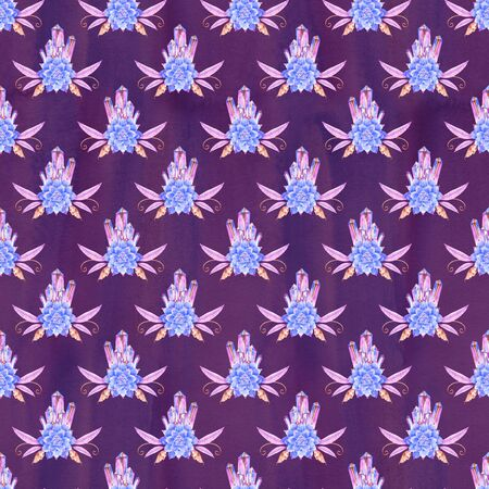 Watercolor seamless pattern with amethyst crystal. Perfect for greeting cards, wedding invitations, packaging design and decorations.