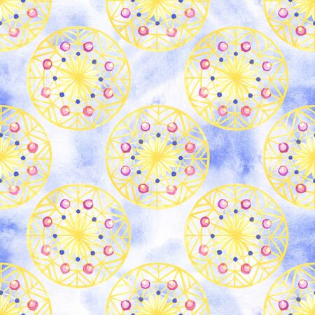 Pattern in boho style. Seamless texture hand drawn. Illustration for your design. Bright colors.