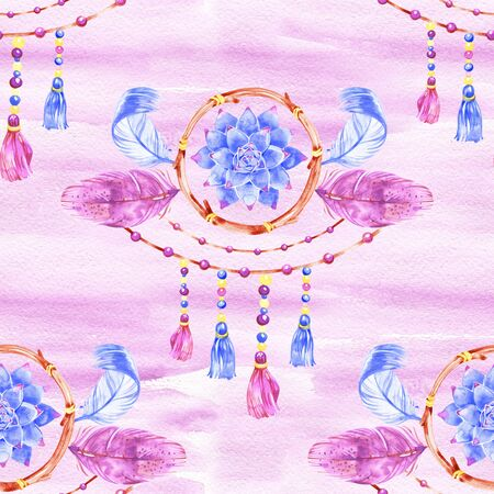 Seamless watercolor hand painted boho pattern. Soft pink crystals and gems on white background.