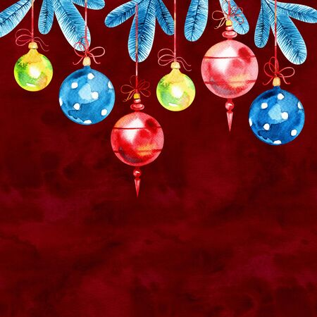 Watercolor Christmas and New Year decoration. Christmas balls on spruce. Reklamní fotografie