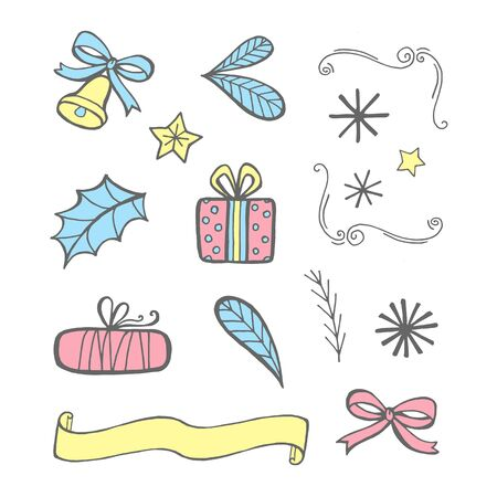 Christmas collection of icons. Vector illustration on a white background.
