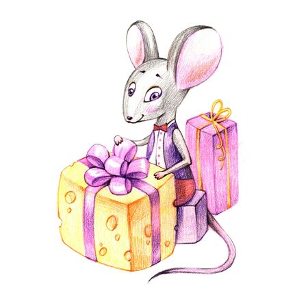 Christmas Mouse.Christmas Mouse With Gifts New Year Postman Symbol Of The