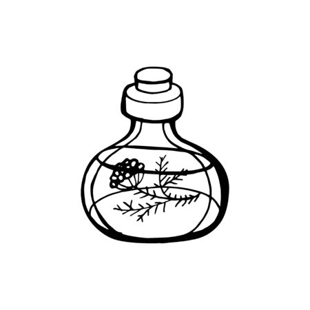 Vector hand drawn flask with magic potion outline doodle icon. Flask with magic potion sketch illustration for print, web, mobile and infographics isolated on white background 向量圖像