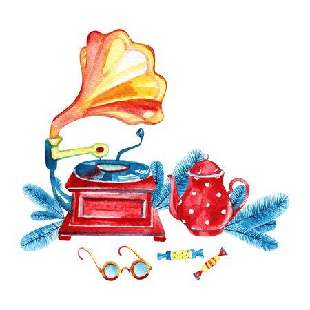 Watercolor red coffee pot. Cozy winter illustration. Imagens