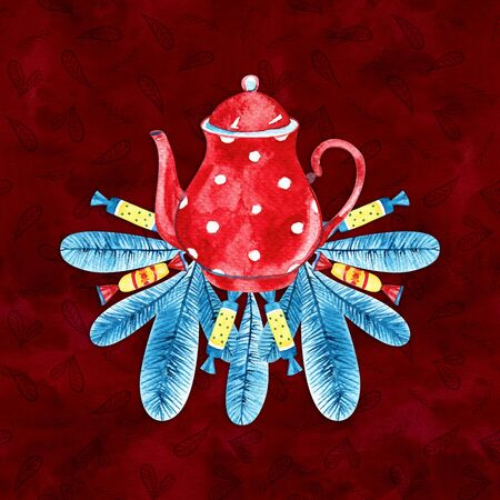 Watercolor red coffee pot. Cozy winter illustration. Imagens