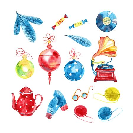 Set Christmas decorations on Christmas tree of watercolor stains blots. Hand draw illustration.