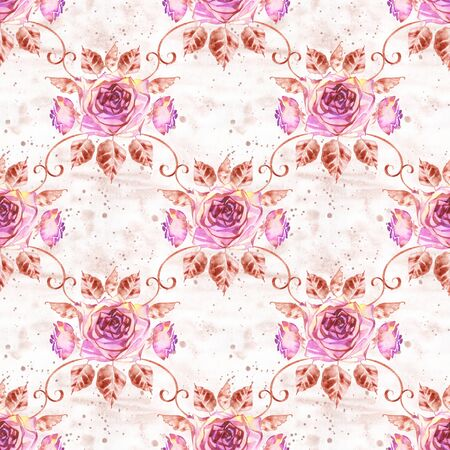 Watercolor roses seamless pattern. Seamless texture with boho roses. Hand painted vintage gardening background. Фото со стока