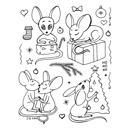 Christmas mouse characters set with decorated tree isolated vector illustration