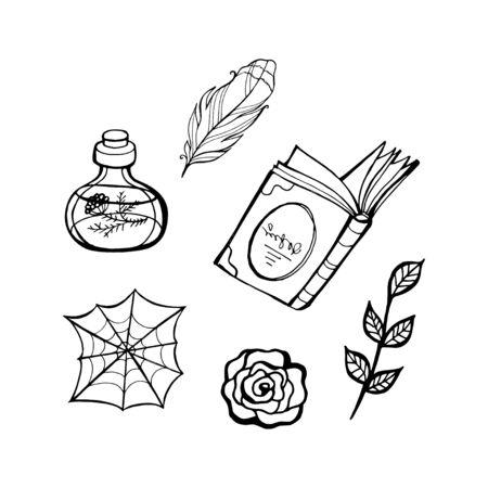 Fairy tale witch set. Halloween line vector illustration. Fantasy icons, mono vector symbols Stock Illustratie