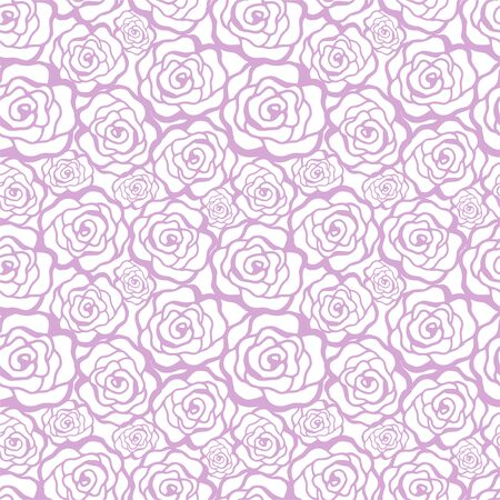 Beautiful seamless pattern in roses with contours. Hand-drawn contour lines and strokes. Perfect for background greeting cards and invitations of the wedding, birthday, Valentines Day Archivio Fotografico - 130531538