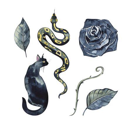 Dark Cartoon Animal Design. Black rose, snake, cat Print Tattoo. Halloween watercolor set. Rose Wildlife Art Illustration.