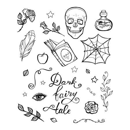 Fairy tale witch set. Halloween line vector illustration. Fantasy icons, mono vector symbols Stockfoto