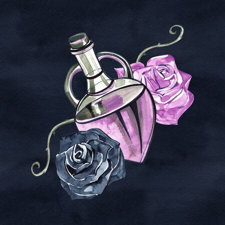 A beautiful bottle of female perfume and a rose with leaves. Watercolor for a postcard or a poster, print for clothes. For her. Fashion Style. Glamorous accessory. Archivio Fotografico - 130612159