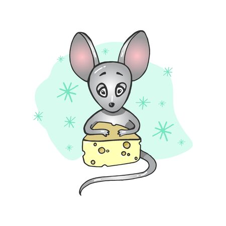 Mouse in the cheese-house. Vector illustration. hand drawn doodle STICKERS Иллюстрация