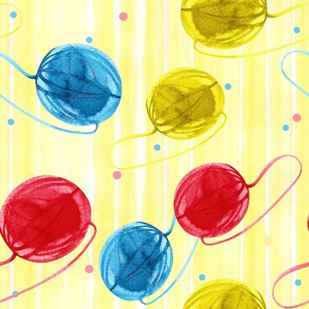 Seamless pattern with watercolor yellow ball of yarn hand drawn on a tender background Stok Fotoğraf