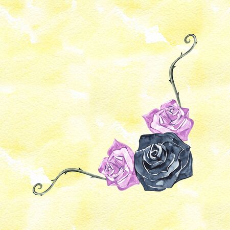 Watercolor whimsical frame with roses. Greetings card light template. Banner, print, poster design. Archivio Fotografico - 130612284