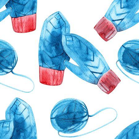 Watercolor yarn seamless pattern background. Winter cozy illustration.