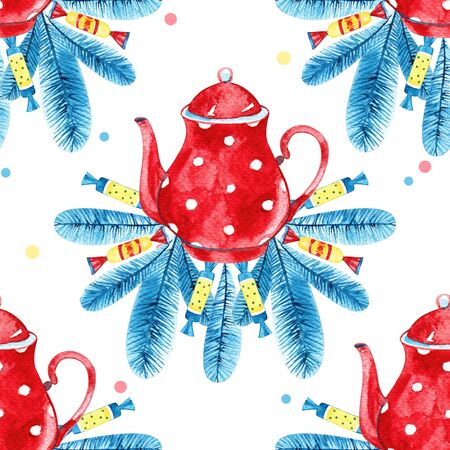 High quality watercolor hand drawn seamless pattern with teapots isolated. Good for fabric, wrapping paper, prints etc