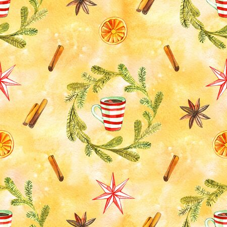 Hot chocolate seamless pattern. Hot drinks Christmas background. Watercolor illustration