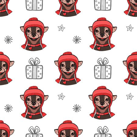 Seamless pattern with a dog. A dog in a red hat. Christmas winter Vector illustration
