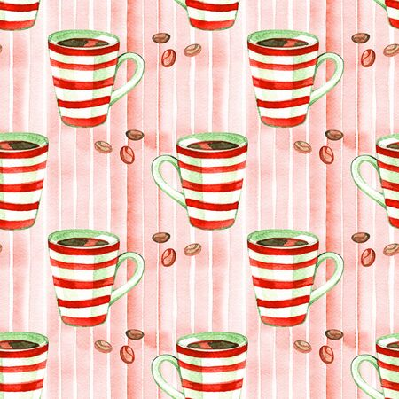 Seamless watercolor pattern with hot winter drink . Coffee, chocolate, mulled wine, cinnamon and other elements