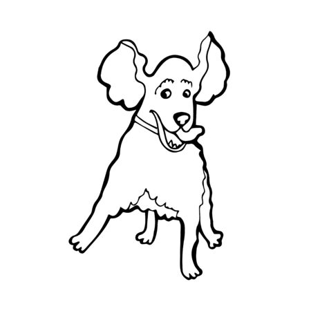 Black and White Cartoon Illustration of Funny Cocker Spaniel Dog for Coloring Book