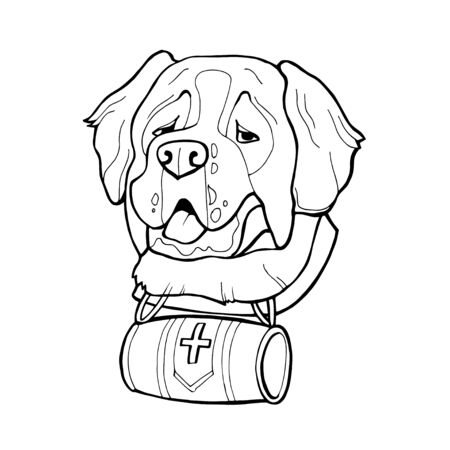 Saint Bernard dog head, freehand pencil, hand drawn, pattern. Zen art. Ornate vector Coloring