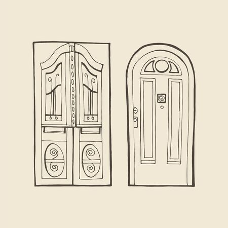 Vector old fashioned doors with carved cornice, decorated pilasters and door panels. Door in retro style isolated