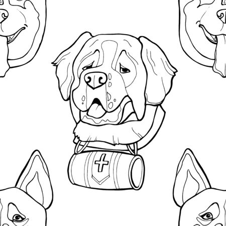 Different dogs breed cute puppy characters seamless pattern.