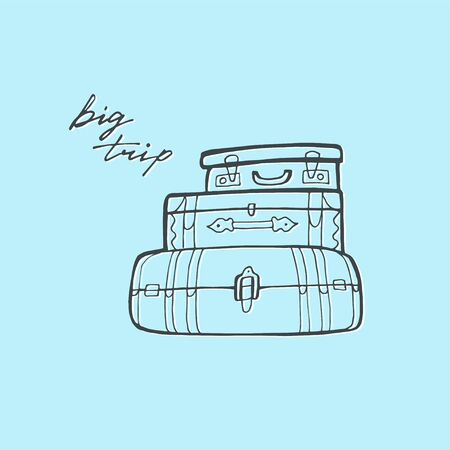 Hand drawn suitcase sketches line vector illustration. Stockfoto