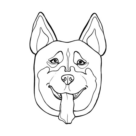 Cartoon wolf, isolated on white background. Huskey coloring book page. Hand drawn sketch for adult antistress coloring page, T-shirt emblem, logo with doodle