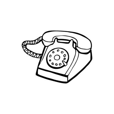 Vieux téléphone peint isolé sur fond blanc