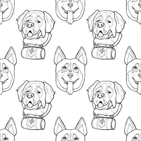 Seamless pattern. Hand draw husky portrait. Saint Bernard dog head.