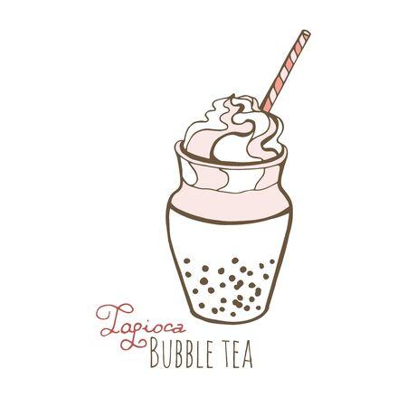 Vector illustration sketch. Hand drawn popular drink, Milk tea with tapioca pearls.