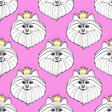 Seamless pink pattern with cute pomeranian dog. Stockfoto