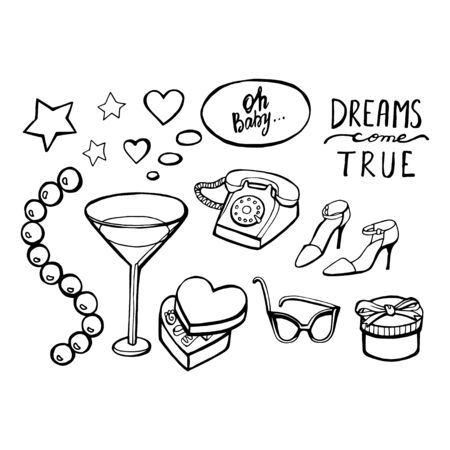 Let your dream come true - lovely vector set. Awesome cartoon collection in vector. Concept retro set in vector.
