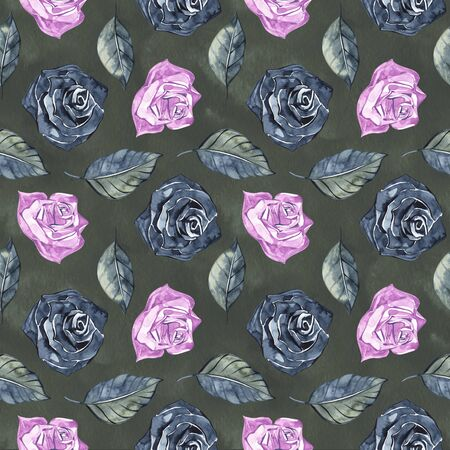 Hand Drawn Roses, Mimicking Folk Embroidery Stitches, on Dark Blue  Floral Seamless Pattern